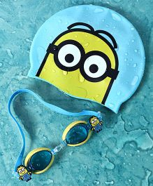 Minion Swimming Cap With Goggle Set - Blue Yellow