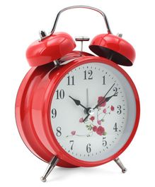 Round Shape Analog Alarm Clock - Red
