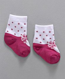 Cute Walk By Babyhug Non Terry Antibacterial Ankle Length Socks Bow Design - Pink White
