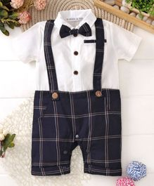 Mark & Mia Short Sleeves Checkered Romper With Bow - White & Navy