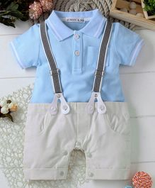 Mark & Mia Solid Short Sleeves Romper With Suspender - Blue
