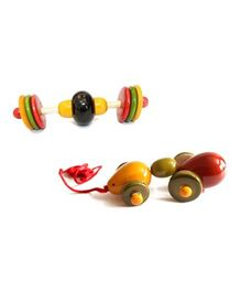 Aatike Wooden Pull Along Ant Toy And Jingle Stick - Multicolour