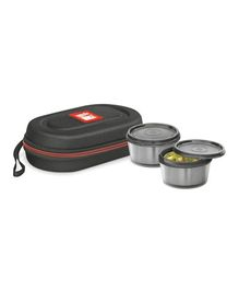Milton Nutri Lunch Box Elegant Tiffin With Microwavable Steel Container Pack of 2 Black - 700 ml