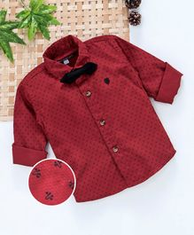 Jash Kids Full Sleeves Printed Shirt - Red
