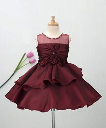 Enfance Flower & Pearl Applique Sleeveless Flare Dress - Maroon