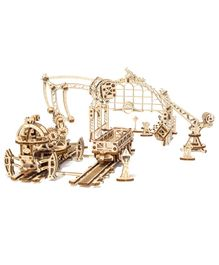 Ugears Wooden Rail Mounted Manipulator 3D Puzzle Cream - 356 Pieces