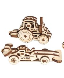 Ugears Wooden Vehicle 3D Puzzle Cream - 18 Pieces
