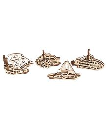 Ugears Wooden Ships 3D Puzzle Cream - 17 Pieces