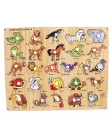 Kinder Creative Wooden Alphabet Animals With Knobs Puzzle - Multicolot