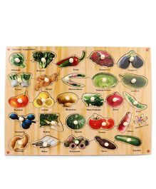 Kinder Creative Wooden Alphabet Vegetables With Knobs Puzzle - Multicolor