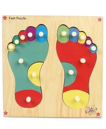 Kinder Creative Wooden Feet Puzzle Tray - Multicolor
