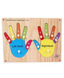 Kinder Creative Wooden Hand Puzzle Counting With Knob Puzzle - Multicolor