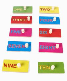 Kinder Creative Wooden Number With Spelling With Knob Puzzle - Multicolor