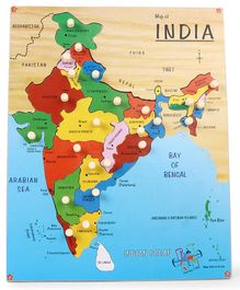Kinder Creative Wooden India Map With Knobs Puzzle - Multicolor