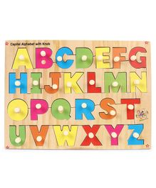 Kinder Creative Wooden Capital Alphabet Without Picture With Knob Puzzle - Multicolor