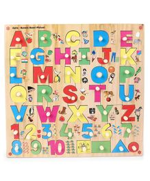 Kinder Creative Wooden Alpha-Numeric Board With Knobs Puzzle - Multicolor