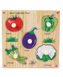 Kinder Creative Wooden Junior Vegetables With Knobs Puzzle - Multicolor