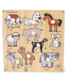 Kinder Creative Wooden 10 Useful Animals With Knobs Puzzle - Multicolor