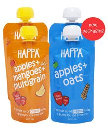 Happa Organic Fruit and Grain Puree Baby Food Pack of 4 - 100 gm each