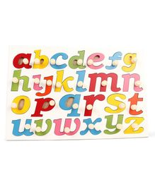 Kinder Creative Wooden My Jumbo Lower Alphabet Painted With Big Knobs Puzzle - Multicolor