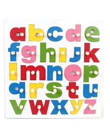 Kinder Creative Wooden My Big Lower Alphabet Painted With Knob Puzzle - Multicolor