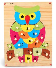 Kinder Creative Wooden Lets Arrange Number Owl With Knobs Puzzle - Multicolor
