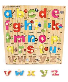Kinder Creative Wooden Lower Alphabet With Knobs Puzzle - Multicolor
