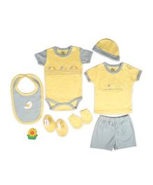 Beebop Babee's Clothing Gift Set Bird Print Pack of 7 - Yellow