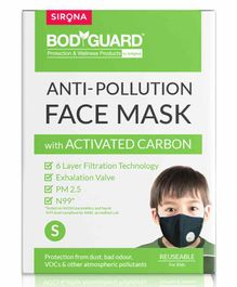 BodyGuard Small N99 + PM2.5 Anti Pollution Face Mask with 6 Layer Protection Activated Carbon - Black