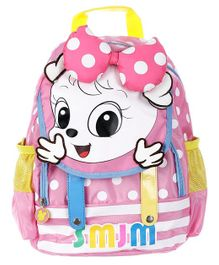 SMJM Cartoon Graphic School Bag Pink Yellow - Height 11.8 inches