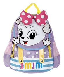SMJM Cartoon Graphic School Bag Purple - Height 11.8 inches