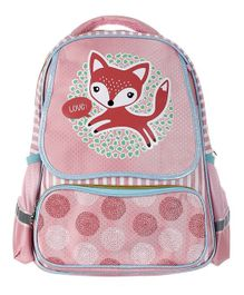 SMJM Fox Printed School Bag Pink - Height 18 inches
