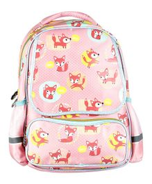 SMJM Fox Printed School Bag Light Pink - Height 18 inches