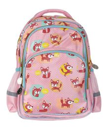 SMJM All Over Fox Printed School Bag Pink - Height 15.7 inches
