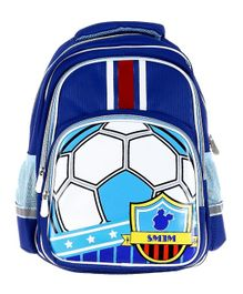 SMJM Football Printed School Bag Royal Blue - Height 15.7 inches