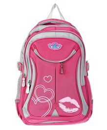 SMJM School Bag Heart Print Pink - 17 inches