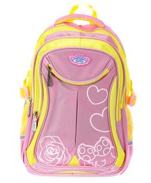 SMJM School Bag Pink & Yellow - 17 inches