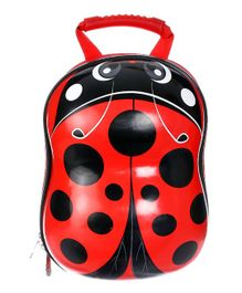SMJM Ladybug Design Backpack Red Black - Height 12.9 inches
