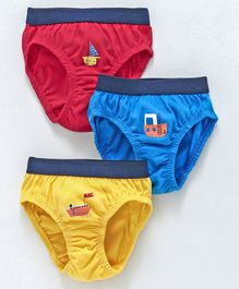 Simply Briefs Boat Print Pack of 3 - Red Blue Yellow