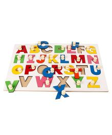 Kinder Creative Wooden My Jumbo Capital Alphabet Painted With Knobs Puzzle - Multicolor