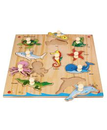 Kinder Creative Wooden 10 Water Animals With Knobs Puzzle - Multicolor