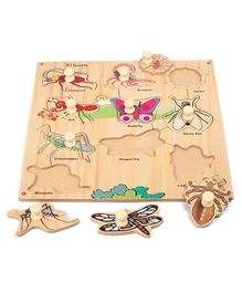 Kinder Creative Wooden 10 Insects With Knobs Puzzle - Multicolor