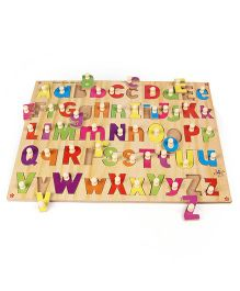 Kinder Creative Wooden Combined Capital & Lower Alphabet With Knob Puzzle - Multicolor