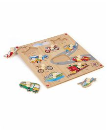Kinder Creative Wooden 10 Vehicles With Knobs Puzzle - Multicolor