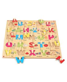 Kinder Creative Wooden Alphabet With Knobs Puzzle - Multicolor