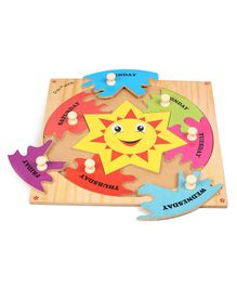 Kinder Creative Wooden Day Puzzle With Knobs Puzzle - Multicolor