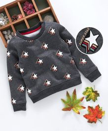 Kookie Kids Star Print Full Sleeves Sweatshirt - Grey