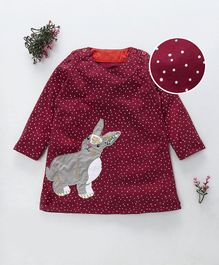 Kookie Kids Polka Dot Print Full Sleeves Night Dress - Maroon