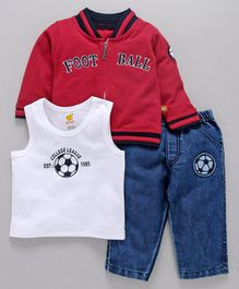 Wow Clothes Full Sleeves Jacket And Vest With Denim Jeans Football Embroidery - Red Blue White