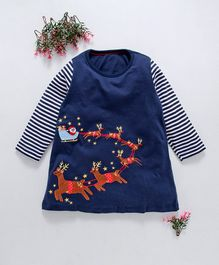 Kookie Kids Reindeer Patch Full Sleeves Nighty Dress - Navy